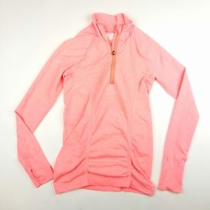 Women Athleta Peach Pink Long Sleeve Zip Top